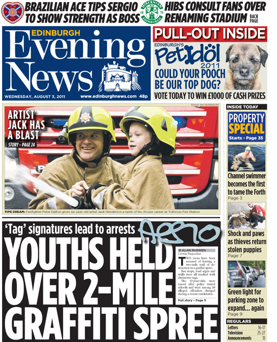 Jack Henderson made it onto the cover of the Edinburgh News (dated 3 August 2011)