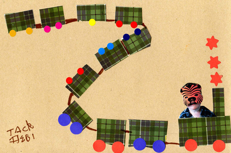 Tiger Toby on a tartan train for Rebecca Hindmarsh