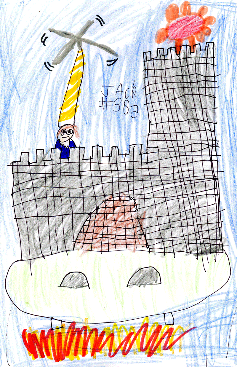 Flying castle with a wizard for Adele Anderson