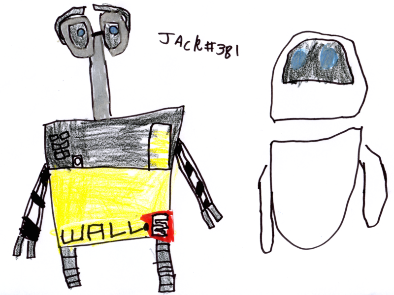 Two robots, a boy & a girl (WALL·E & EVE) for Jemma Llewellyn