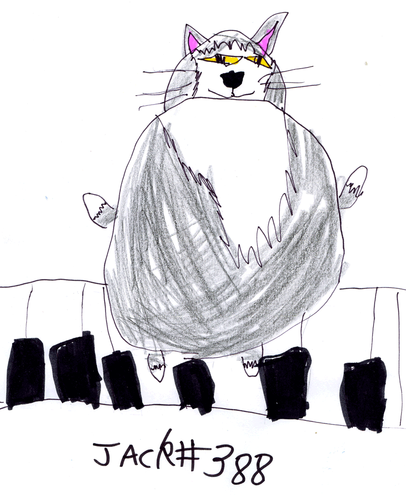 Charlie the white faced, white paws, very fat tabby cat for Craig Smith
