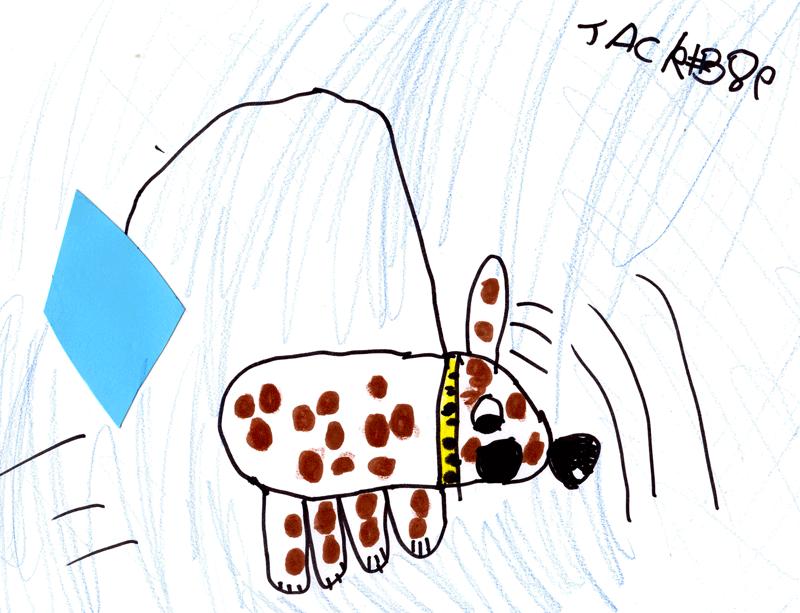 Blue kite flying a brown & white dog for Laura Packer