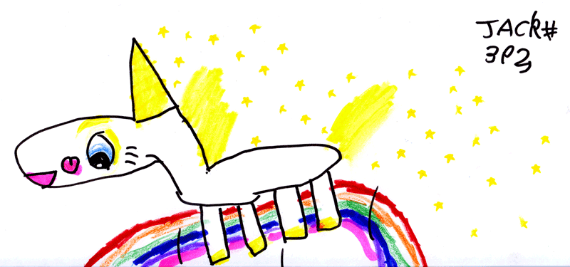 Buttercup the Unicorn (from Toy Story 3) jumping over a rainbow for Allison Endeacott-Key