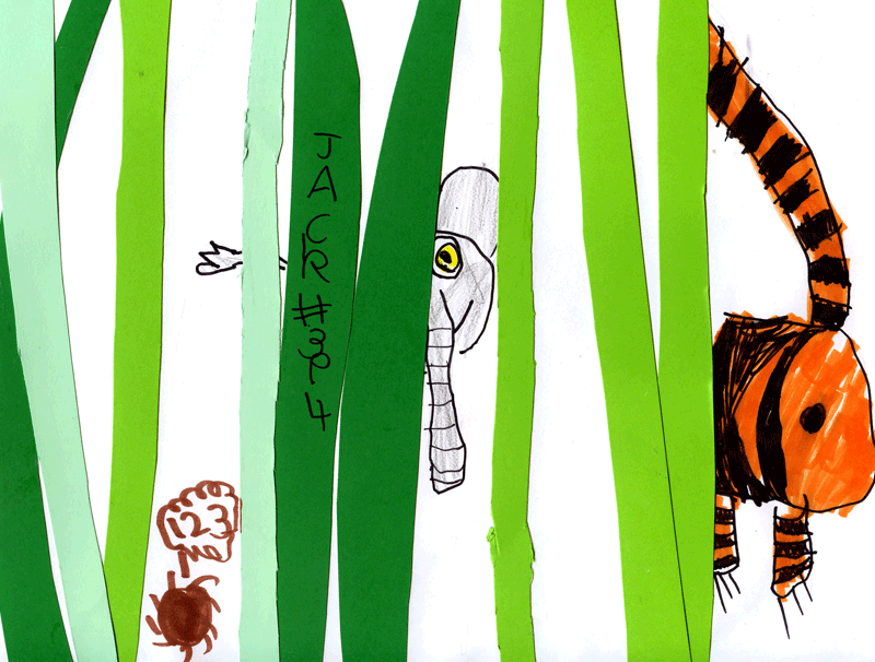 Elephant & Tiger (playing Hide & Seek with a Hedgehog) in the jungles of India for Sharon Evans