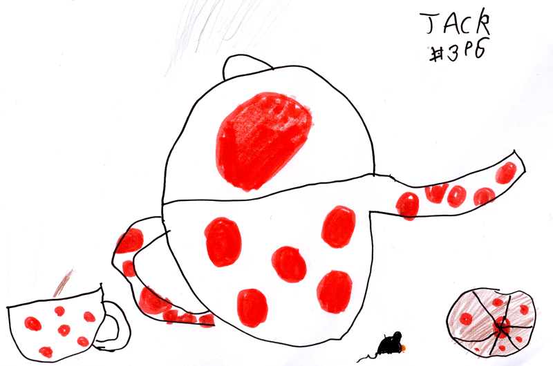 Cupcake, teapot and a cup of tea (with nosey hungry Mouse) for Lucy Brown