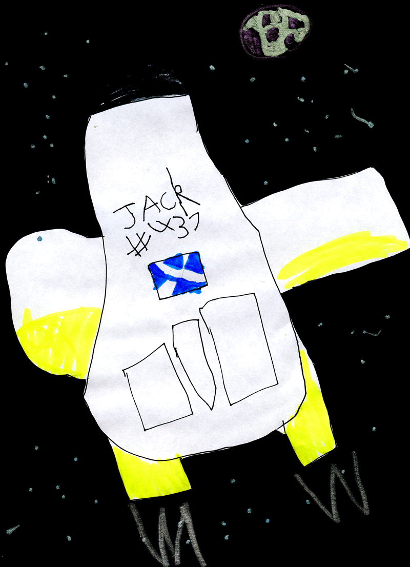 Scottish Space Shuttle flying through space to the Moon for Kirsten Alexander