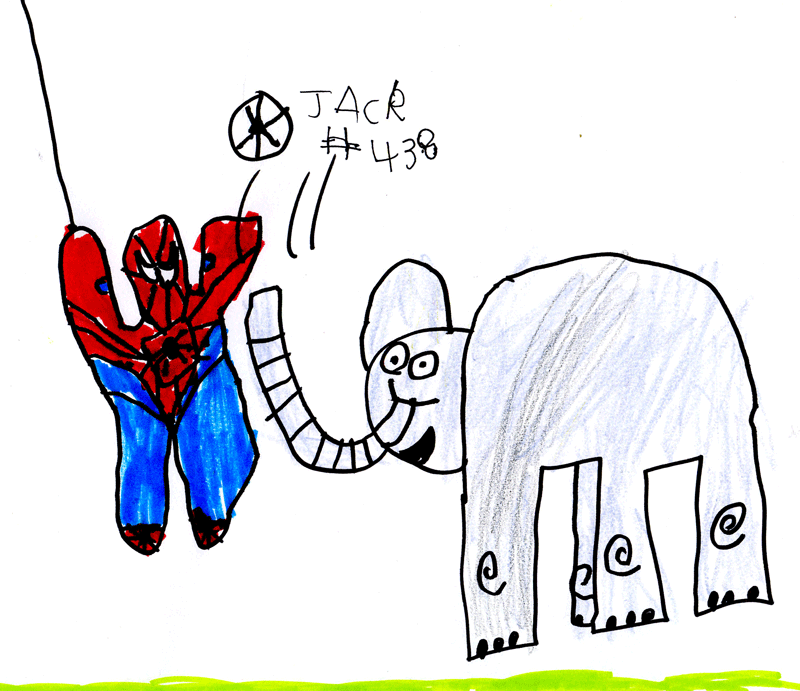 Spider-man playing football with an elephant for Dan Calladine