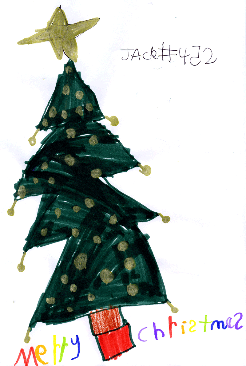 Christmas Tree with the words Merry Christmas in different coloured letters for Lesley Younie