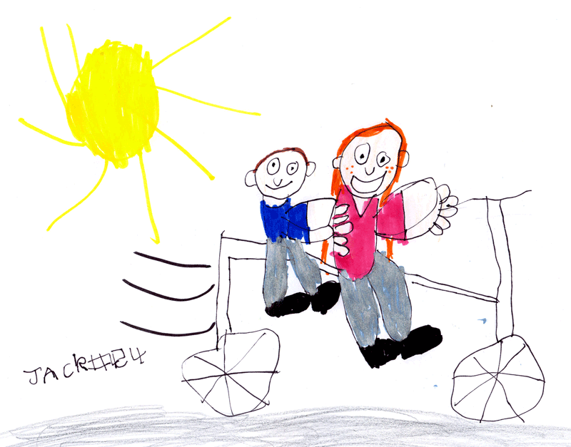 A pretty red-headed girl riding a white bicycle with a brown-haired boy on the back for Dobbs