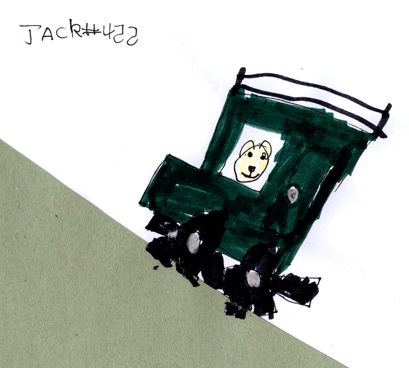 Teddy bear driving a Landrover for Teresa Lewis
