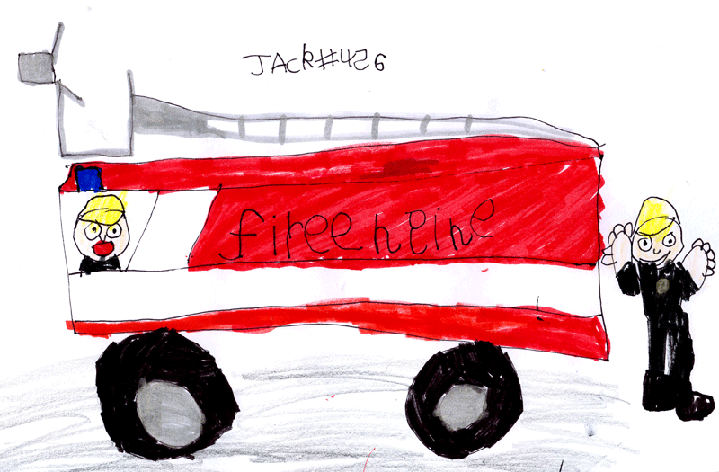 Fire engine with a fireman by the side for Helen Edwards