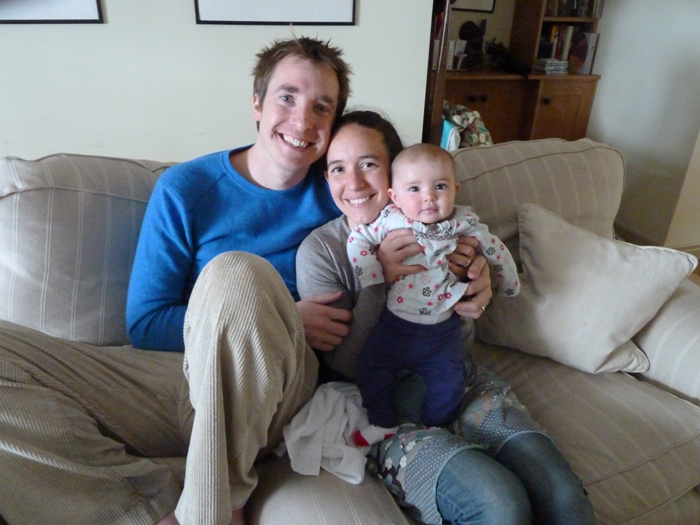 Mummy, Daddy and Jessica jumping on the sofa for Matt Sadler