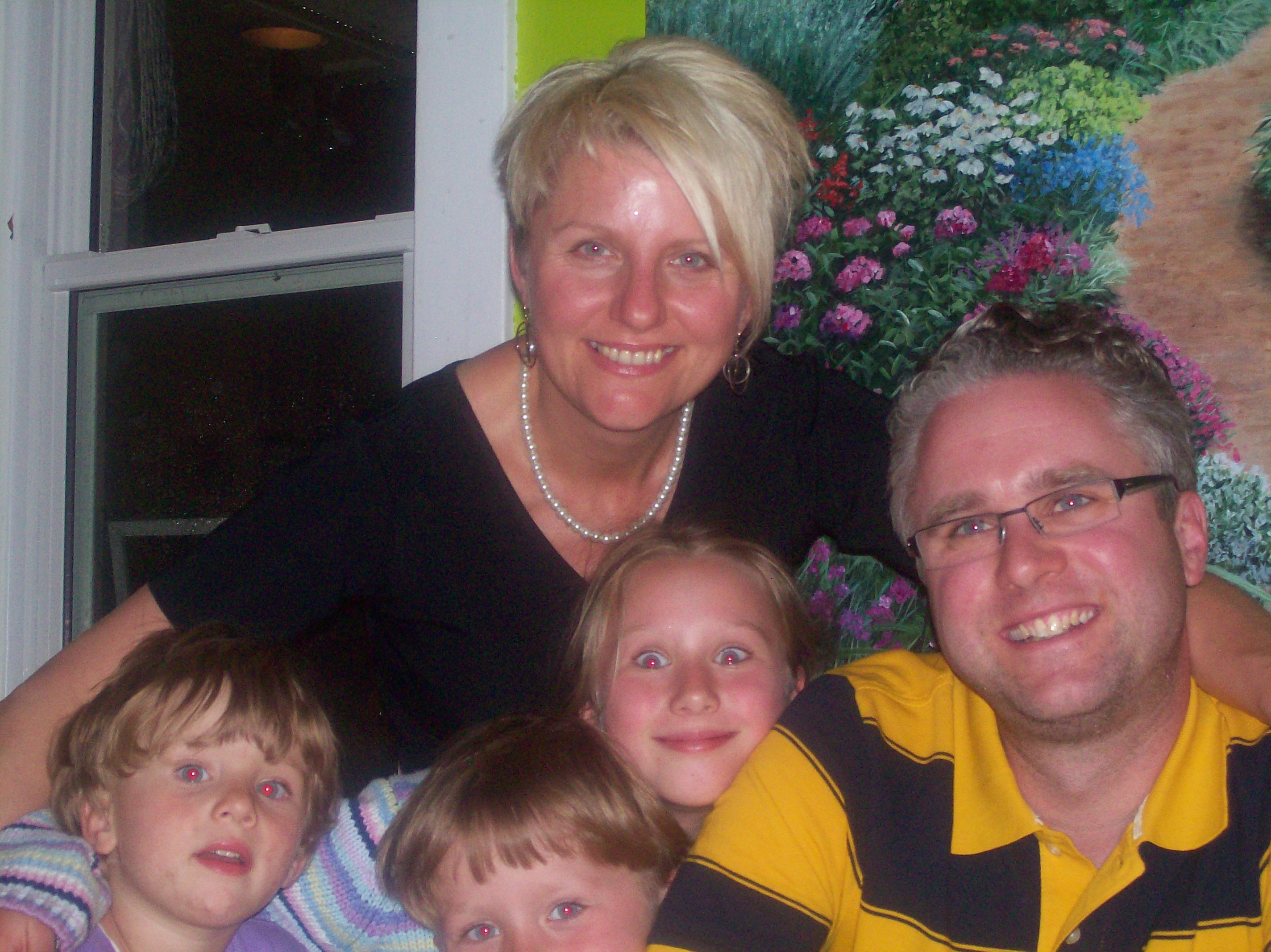 My family–Andrea, Tim, Laura (9), Tom (5) and Jane (2) for Andrea Hardie