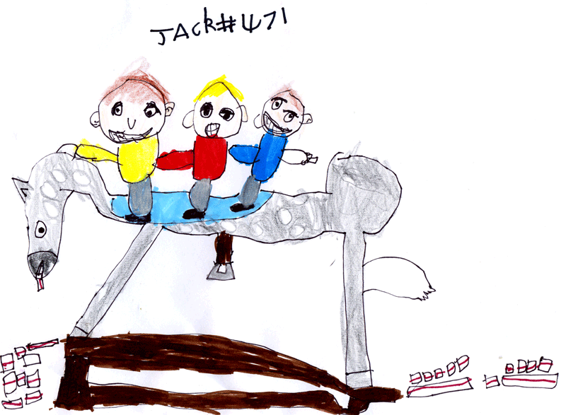 Neddy the rocking horse, swimming in a pool of jam sandwiches with Jack, Toby and Noah riding him for Laura Perry