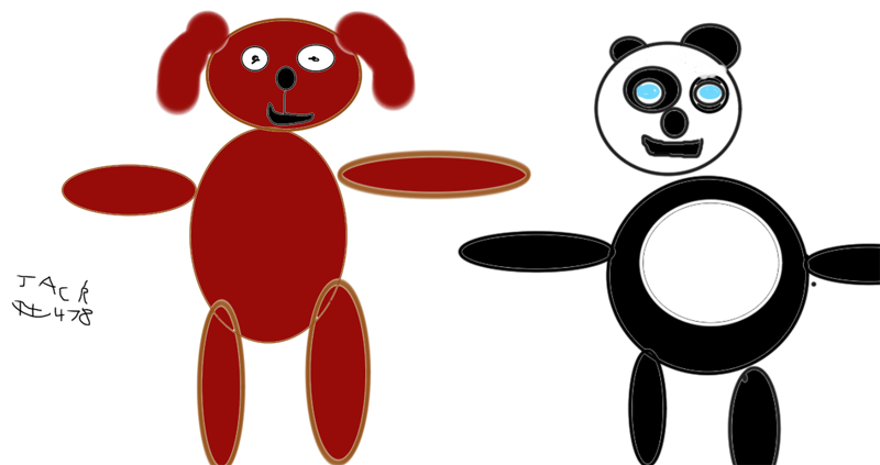 Woofy & Panda (favourite toys) for Mark, Nicola, Lauren and Hannah