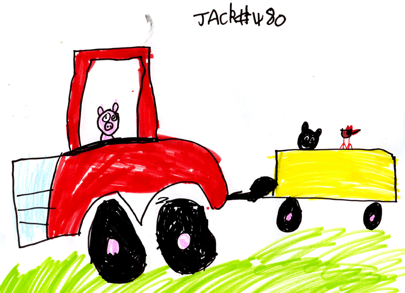 Tractor with some farmyard animals for Alison Prime