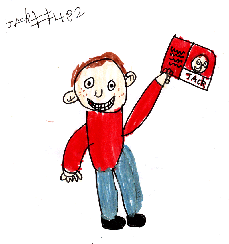 Jack with his book–Jack Draws Anything–out TODAY!