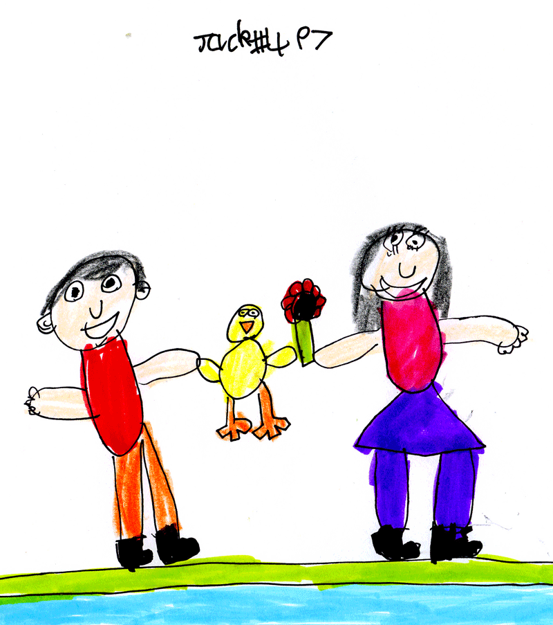 Duck and a poppy and a boy and girl holding hands near a canal for Sam & Teresa