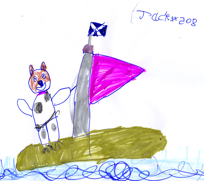 Molly the Parson Russell windsurfing at the beach for Rachel Boles