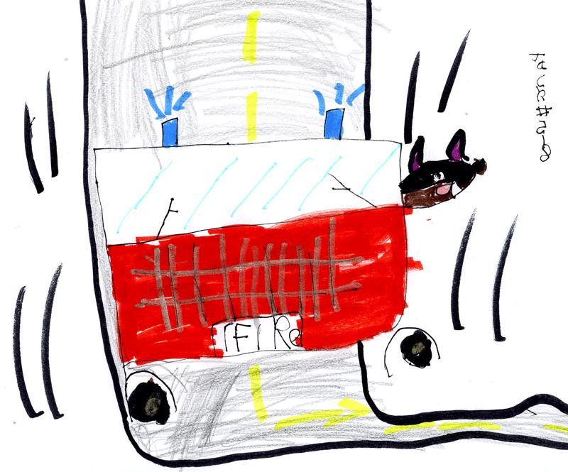 Big red fire engine & Buster the big black Doberman dog for Dennis, Carol & Buster Brown