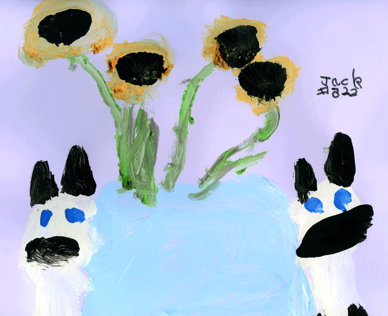 My Siamese cats Blue & Sudo (sniffing sunflowers) for Johanna B