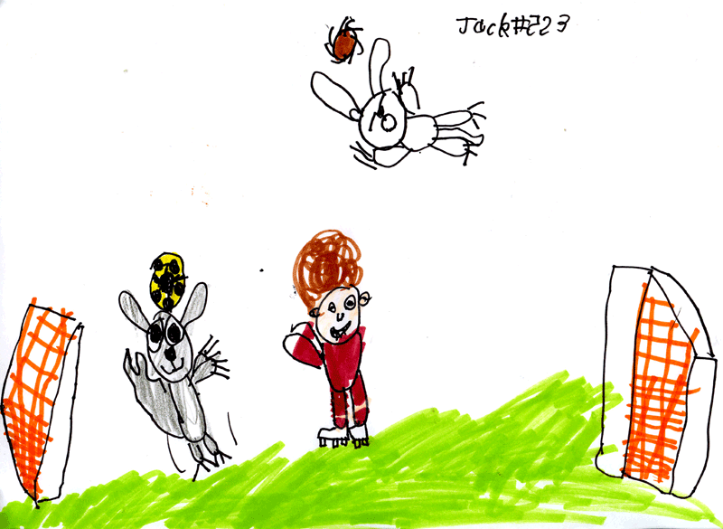 Matthew, Percy and Shadow playing football in the garden (with bonus hedgehog) for Kay Longstaff