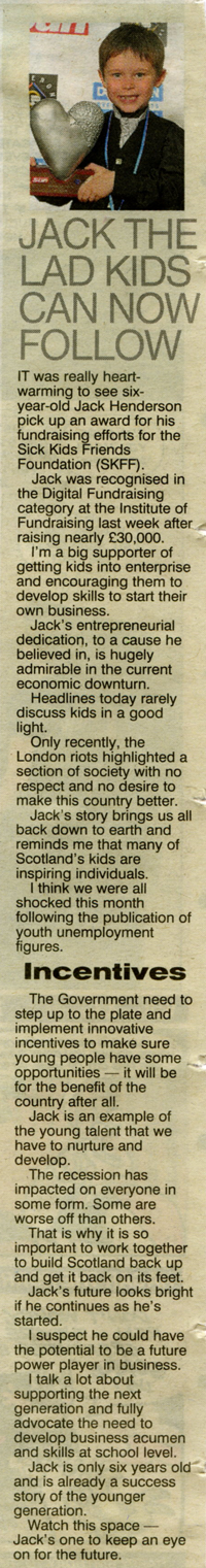 JACK THE LAD KIDS CAN FOLLOW (Scottish Sun by Shaf Rasul, star of Dragons' Den online)