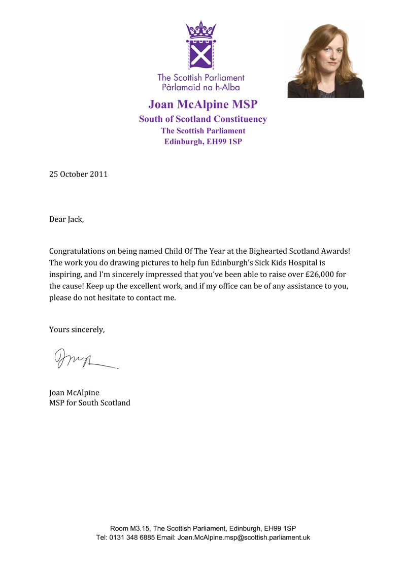 Congratulatory letter received from Joan McAlpine, Jack's local MSP, @JoanMcAlpine