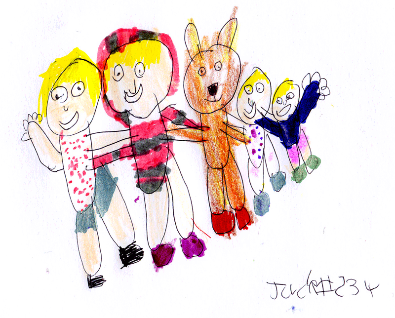 My wife Belinda, Treacle the dog & 3 children, Clara, Rosie & Milly for Angus Smith