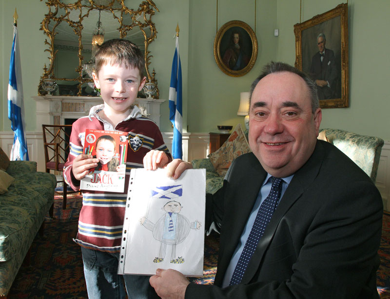 First Minister Alex Salmond meets Jack Henderson, young artist and fundraiser for Edinburgh's Sick Kids Hospital.