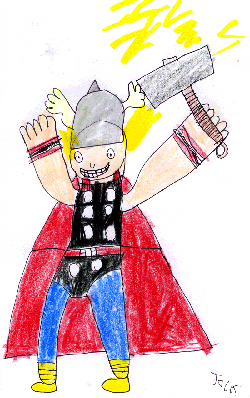 Jack has drawn the next addition to his Superhero Collection. Added to