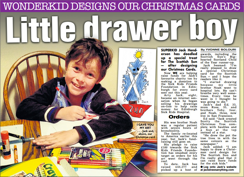 Jack doodles up Christmas Card design for the Scottish Sun