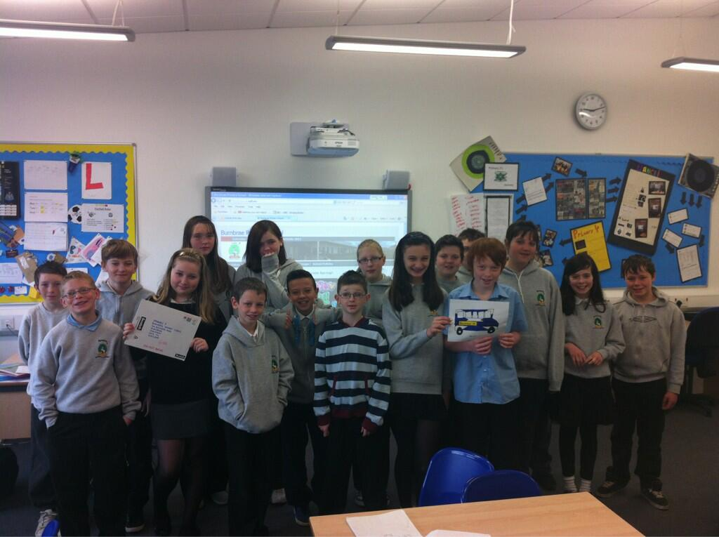 Burnbrae Primary 7 with their Jack Draws Anything picture drawn by Jack Henderson himself