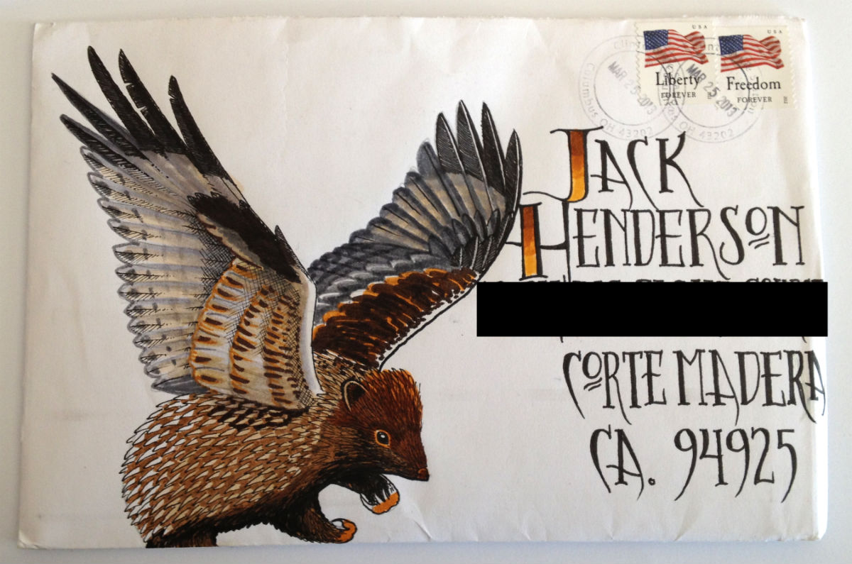 "A ""Hedgehawk"" for Jack Henderson on an envelope and mailed to Jack from Craig 'Tapecat' McCudden"