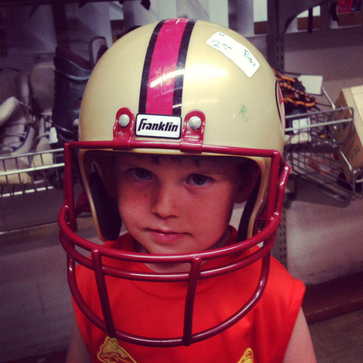 We bought Noah a San Francisco 49ers helmet as a little treat for getting out of hospital