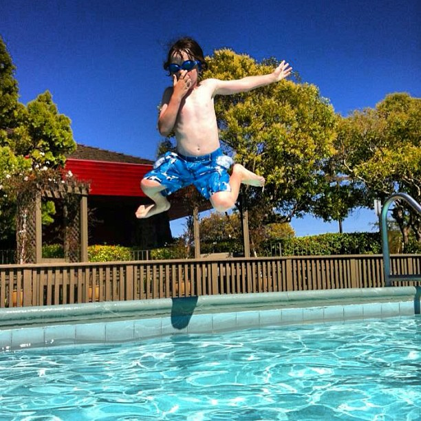 Jack jumping into a swimming pool this Summer (not the time mentioned in the post)