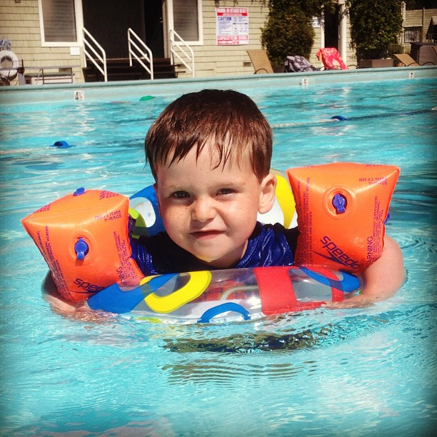 Noah at the swimming pool (not the time mentioned in the post)